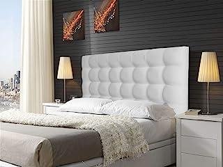 ONEK-DECCO Cabecero tapizado en Polipiel de Dormitorio Kansas Medidas cabecero de Cama niño, Juvenil y Matrimonio Cabezal Blanco, tapizado, Acolchado (90x70, Plata)