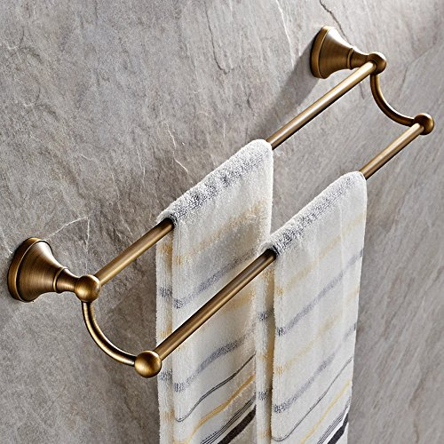 Leyden Antique Bathroom Accessories Brass Double Towel Bar Home Decor Towel Rack Wall maounted