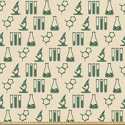 ABAKUHAUS Laboratorium Stof per strekkende meter, Farmaceutische Analyse van Geneesmiddelen, Microvezel Stof voor Kunstnijverheid, 2 m, Hunter-groen en beige