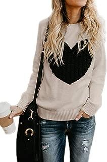 Womens Sweaters Cute Heart Pattern Crewneck Long Sleeve Pullovers Tops Warm Knit Jumper