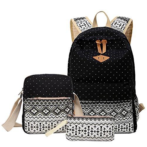Aiduy School Backpack Canvas Bookbag Shoulder Daypack Handbag for Girls (Black)