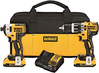 DEWALT 20V MAX XR Brushless Impact Driver and Hammer Drill Combo Kit , Compact 2.0Ah (DCK287D2)