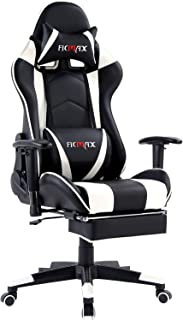 Ficmax Massage Gaming Chair Reclining Racing Office Chair Ergonomic Computer Chair with Footrest Computer Gaming Chair Height Adjustable Gaming Desk Chair with Headrest and Lumbar Support(Black/White)