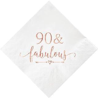 مناديل كوكتيل رائعة 90 قطعة من كريسكي بلون ذهبي وردي للنساء ديكورات عيد الميلاد التاسع التسعين، لوازم طاولة كعك البكرات وا...