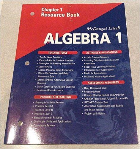 McDougal Littell High School Math: Chapter 3 Resource Book Algebra 1 by