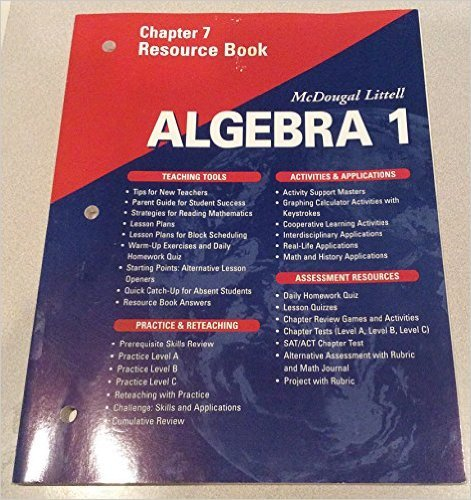 McDougal Littell High School Math: Chapter 3 Resource Book Algebra 1 by