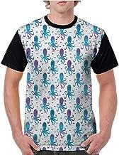 Mens Baseball Tee,Octopus,Mosaic Pattern Marine Animal Silhouettes Abstract Nautical Polygonal Design,Blue Purple White S-XXL T-Shirt Casual Blouse