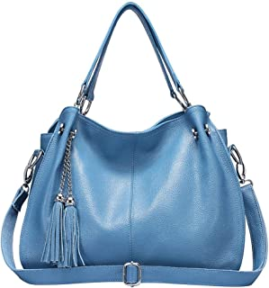 FengheYQ Women's Messenger Bag Simple and Versatile Large Capacity Bill of Lading Shoulder Slung Leather Handbag Size:38 * 14 * 28cm (Color : Blue)