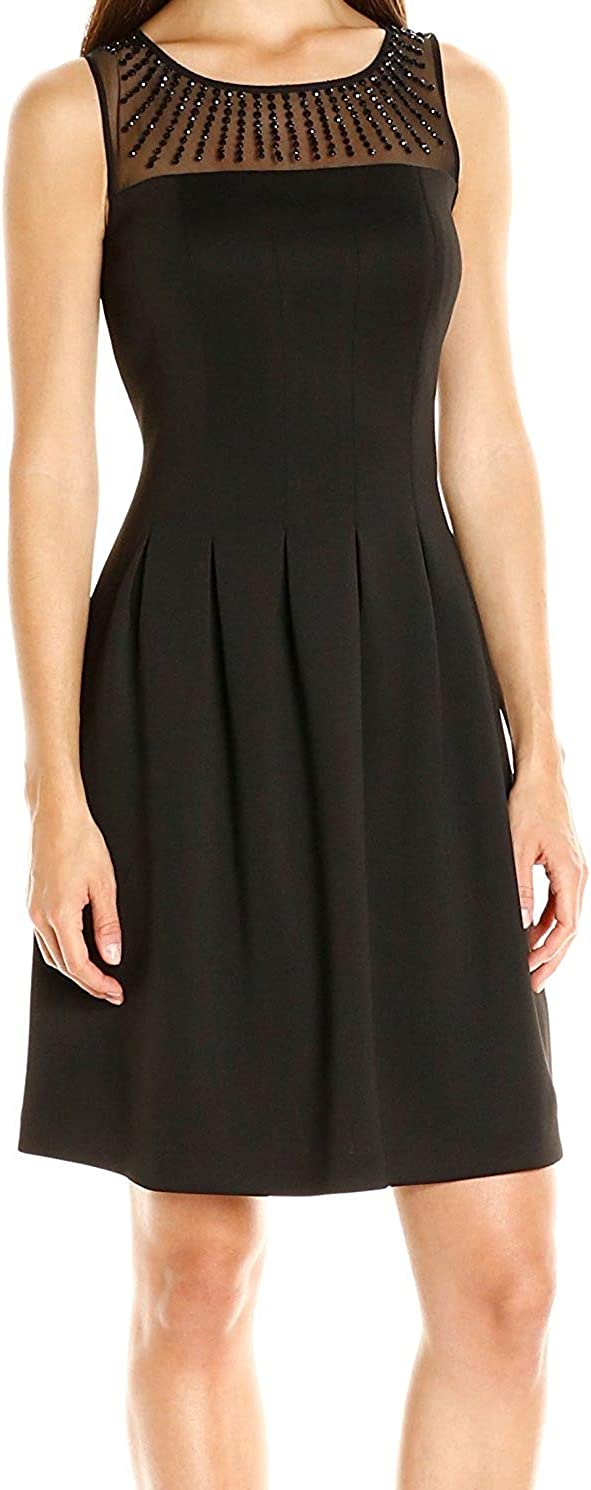 ELLEN TRACY Women's Fit and Flare Scuba Dress with Embellished Neckline