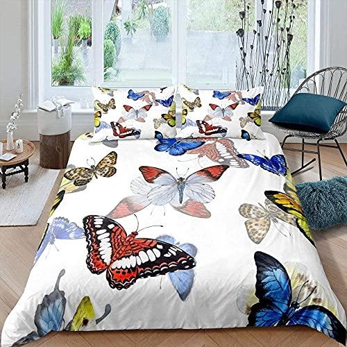 Funda Nordica Cama 180 260x240 cm, ( Patrón de Mariposas de Colores ) Ropa de Cama Impresa en 3D - 1 Funda Nórdica + 2 Fundas de Almohada 50x75 / 70x40 cm