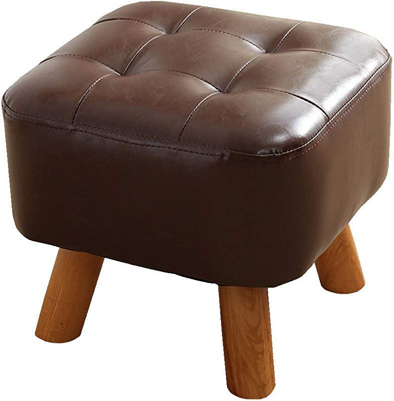 WZ Ottomans Footstool PU Upholstered Medium Ottoman Luxury Square Pouffe Wood Legs Change Shoe Stool Two Colour Color Brown