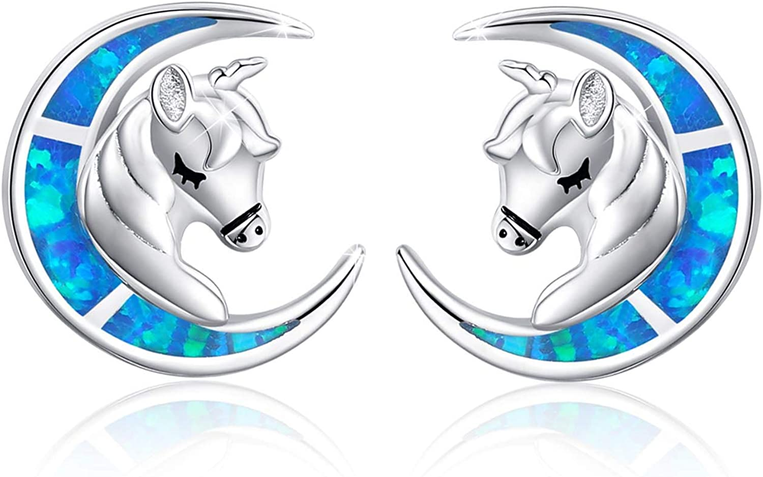 Unicorn Studs Earrings Fire Max 86% OFF Max 72% OFF Opal Sterling Moon 925 with