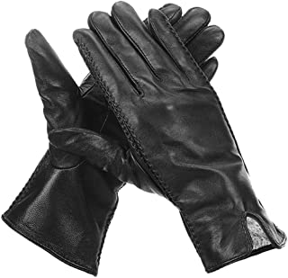 Winter Leather Gloves for Women, with Full-Hand Touchscreen Featured, Warm Driving Gloves