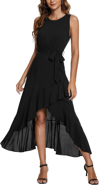 Kormei Womens Sleeveless Scoop Neck Floral High Low Split Party Long Maxi Dress