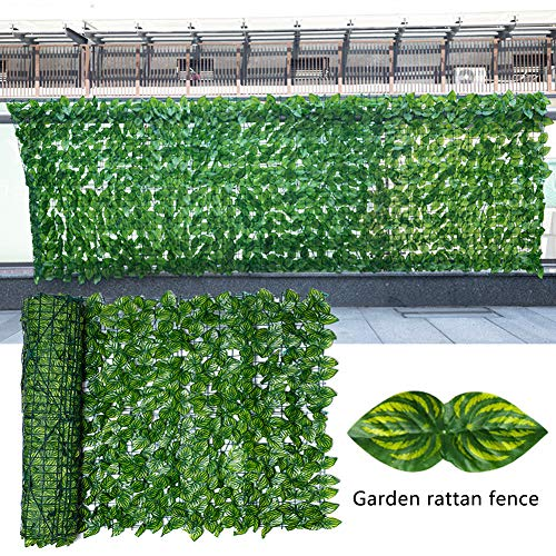 Hughdy Artificial Leaf Trellis, Greenery Ivy Leaf Fencing, Fake Leaf Screening Roll UV Fade Protected Privacy Hedging Wall Landscaping for Office Wedding Garden Natural Screens Decoration
