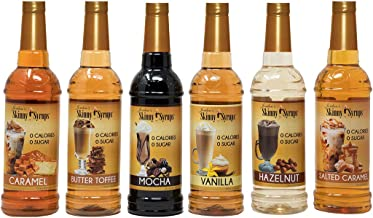 Jordan's Skinny Syrups | Classic Syrup Sampler| Healthy Flavors with 0 Calories, 0 Sugar, 0 Carbs | 750ml/25.4oz Bottles - Pack of 6
