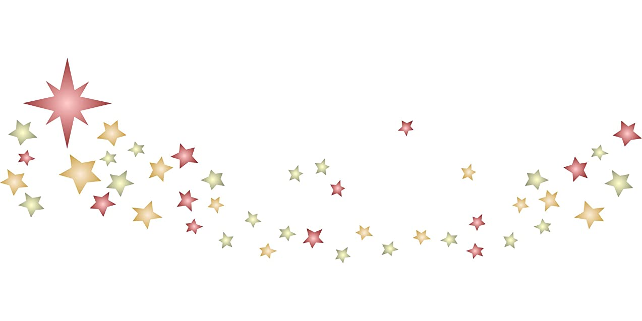 """Stars Stencil Border - (size 20""""w x 6.5""""h) Reusable Wall Stencils for Painting - Best Quality Christmas Star Stencil Ideas - Use on Walls, Floors, Fabrics, Glass, Wood, Terracotta, and More…"""
