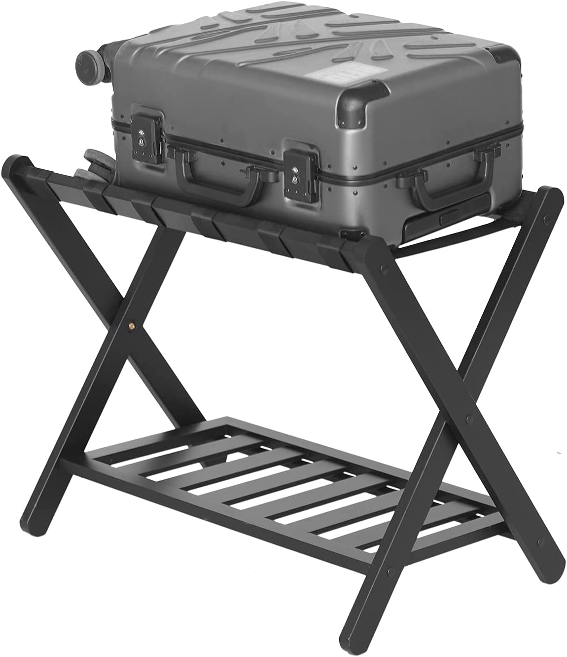 Unbrands Luggage Rack, Folding Luggage Rack for Guest Room for Home Bedroom Hote, with Shelf