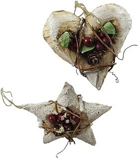 Gisela Graham Christmas Decorations - Set of 2 Berry Heart and Star Decs