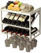 HTTJJ Rustic Wall Wine Racks with Glass Holder/Hanging Wine Rack/Bottle Storage Rack / 2 Tier Metal Shelf Floating Shelves...