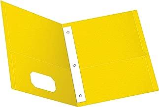 Oxford Two-Pocket Folders w/Fasteners, Yellow, Letter Size, 25 per Box (57709)