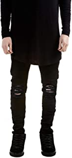 Fashion_Refinery Men's Skinny Fit Denim Ripped Destroyed Frayed Stretch Jeans Pants