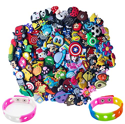 100pcs Different Shoe Charms for Clog Shoe,Wristband Bracelet Decoration & Charms Party Gift for Kids and Teens Girls (100pack+ 2 Bracelet)