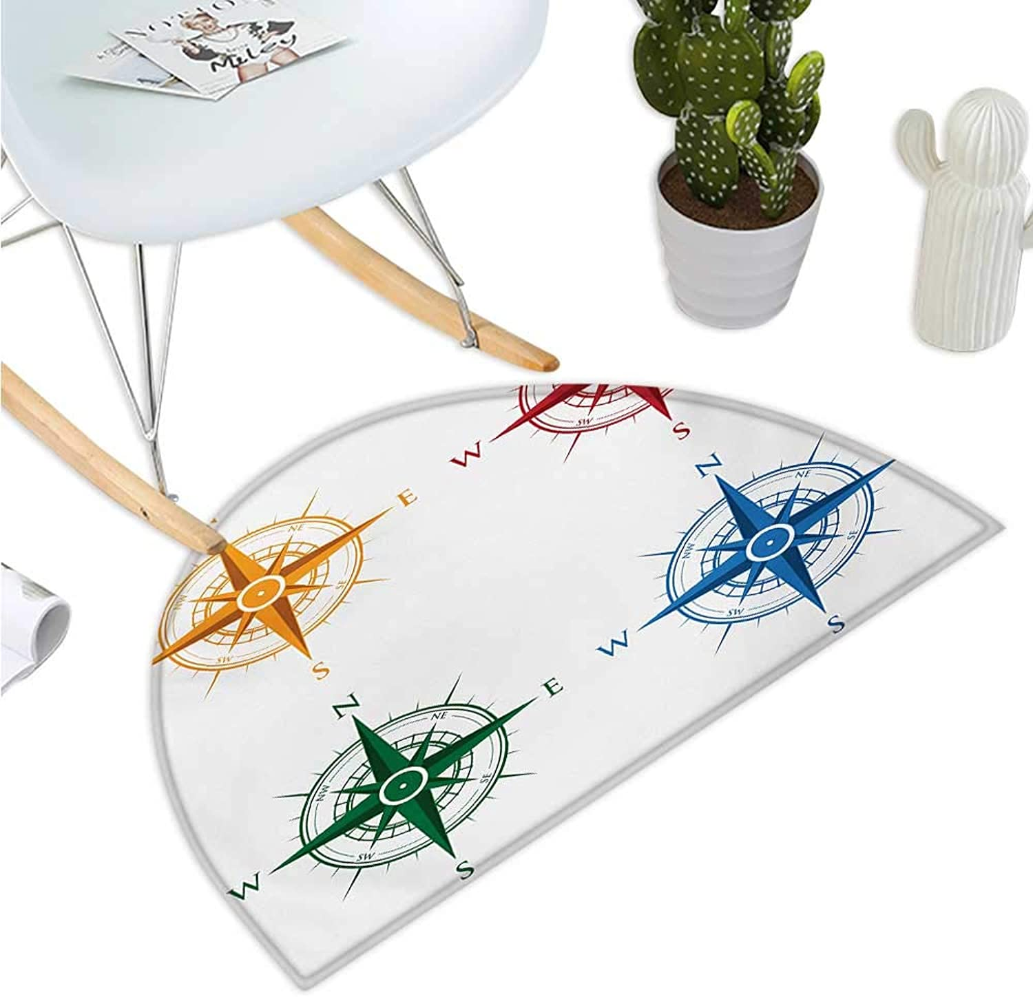 Compass Semicircular Cushion colorful Different Compasses Set Orientation Icons Earths Magnetic Field Find Your Way Entry Door Mat H 35.4  xD 53.1  Multi