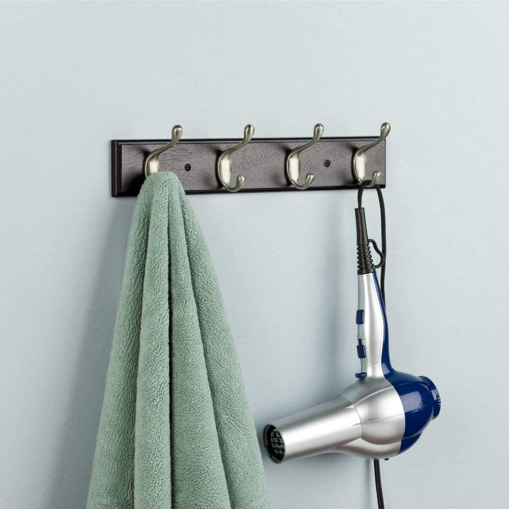 16inch Rail with 4 Coat and Hat Hooks in Black and Satin Nickel