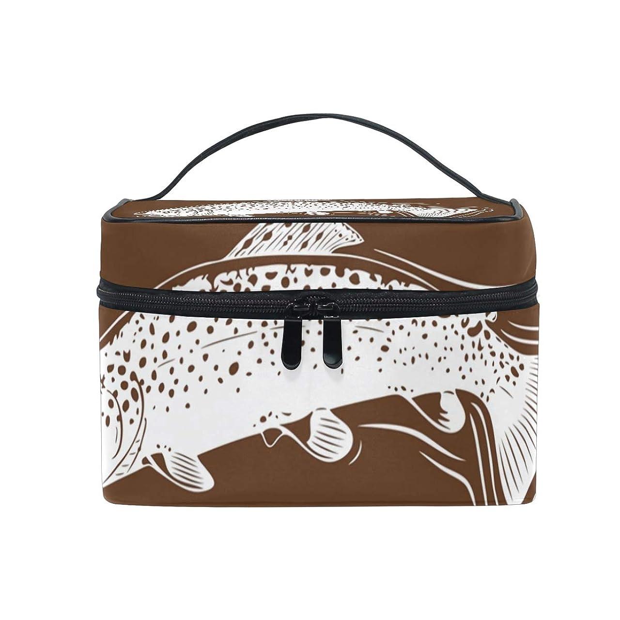 きしむかみそりブラウスメイクボックス イカ柄 化粧ポーチ 化粧品 化粧道具 小物入れ メイクブラシバッグ 大容量 旅行用 収納ケース