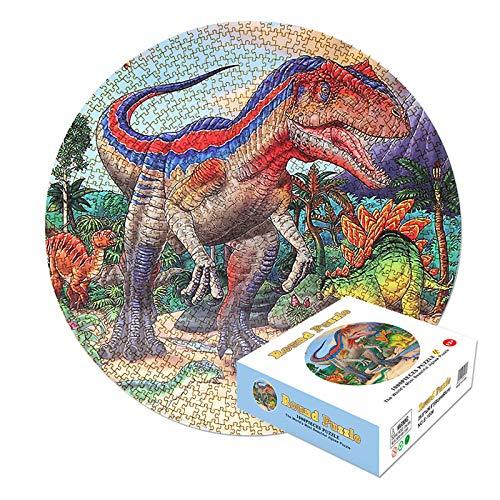 Puzzle 1000 Teile, Puzzle für Erwachsene und Kinder, Runde Puzzle, Geschicklichkeitsspiel für die ganze Familie, Erwachsenenpuzzle ab 12 Jahren(Dinosaurier)