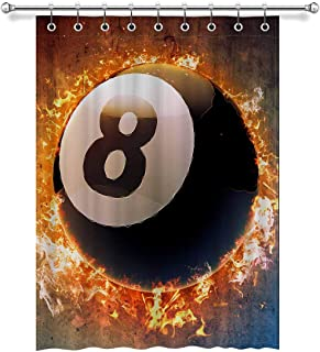 InterestPrint Cool Billiard Pool Snooker Ball in Space Blackout Room Darkening Curtains Window Panel Drapes with Hooks - 1 Panel - 52 inch Wide by 72 inch Long