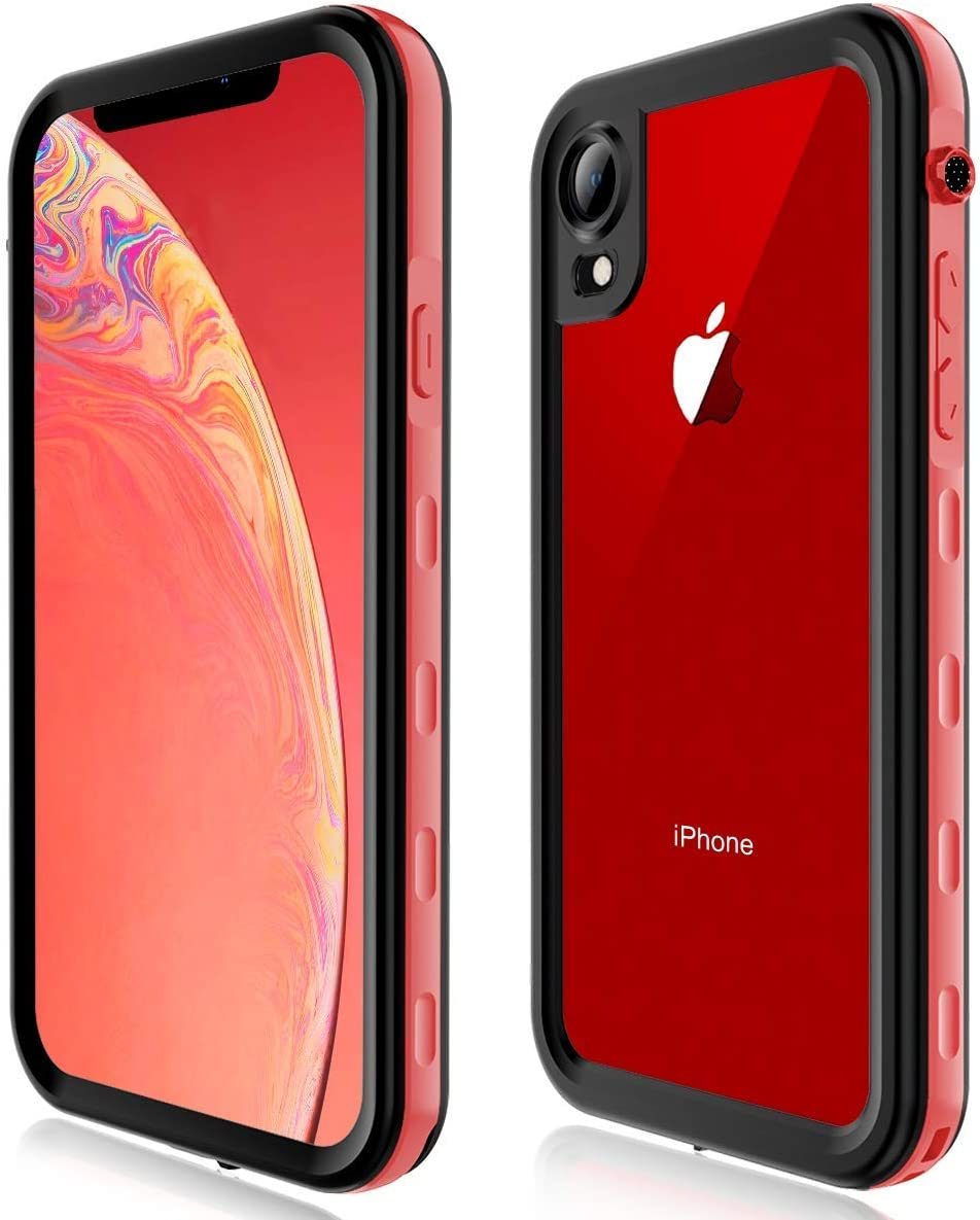 FXXXLTF Case for iPhone XR, Full-Body Protective Slim Cases with Built-in Screen Protector Waterproof Shockproof Snowproof Clear Cover Case for iPhone XR (6.1 Inch) (Red)