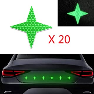 20x High Intensity Grade Reflective Safety Warning Tapes Stickers Self-Adhesive for Car Truck Motorcycle Bike Trailer Camper Helmet Fence Bags Four-Pointed Star Shape Green