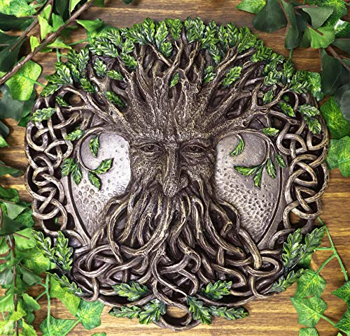 Ebros Nature Spirit God Celtic Tree Of Life Oak Tree Greenman Hanging Wall Decor Plaque 12.5' Diameter Wiccan Yggdrasil Forest Horned God Cernunnos Ent Mythical Fantasy Decorative Sculpture