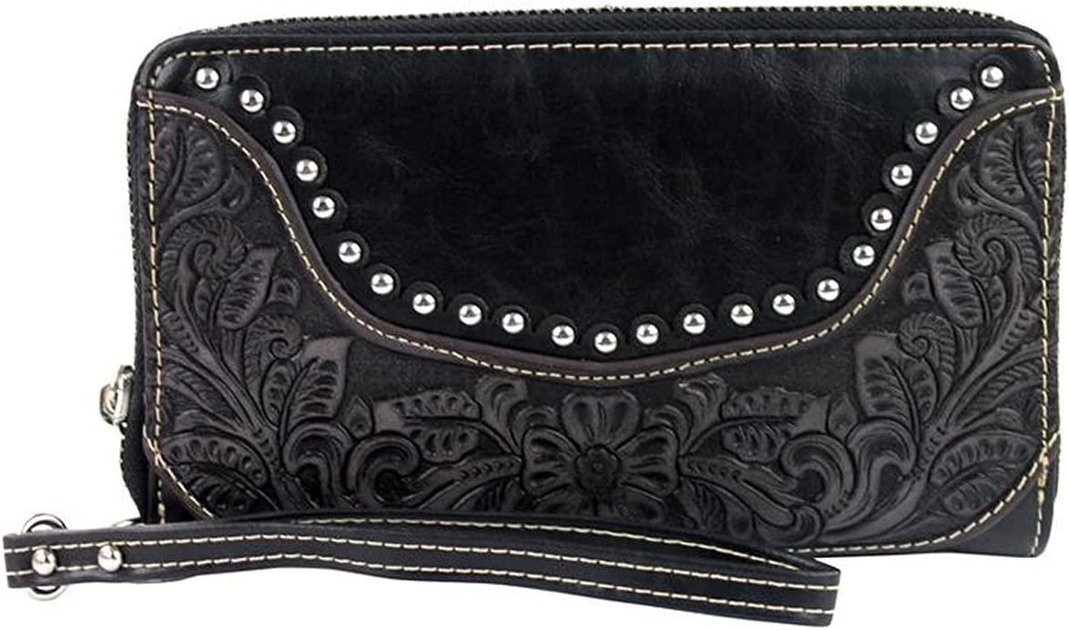 Montana West Womens Leather Wallet Clutch Studded Tooled Cheap mail order Raleigh Mall shopping Western