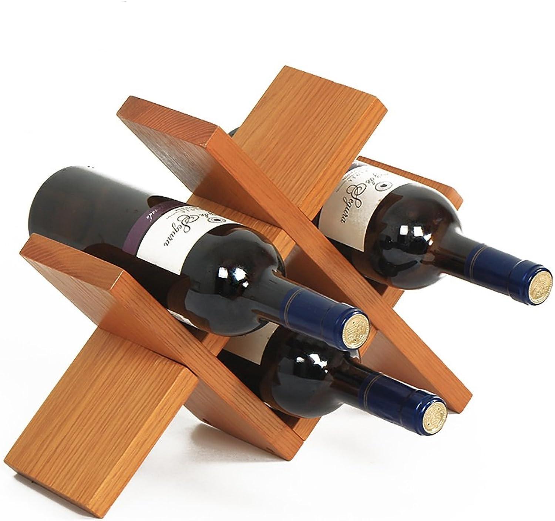 Solid Wood Desktop Honey color Strong 3-4 Bottles Red Wine Cross Horizontal Display Stand
