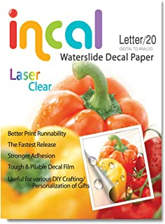 [Incal Paper] Waterslide Decal Paper LASER CLEAR, Letter size(216x279mm) 20sheets, DIY Photo Printing Craft, Stronger adhesion/fast releasing, Pliable Decal Film (Clear)