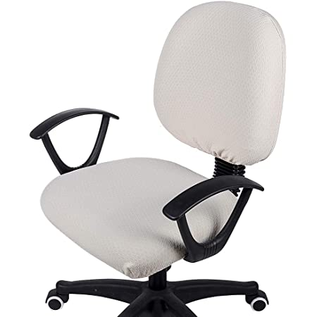 FORCHEER Office Chair Cover Set Stretchable 2 PCS for Computer Armrest Chair Slipcover Removable Washable Grey Geometric