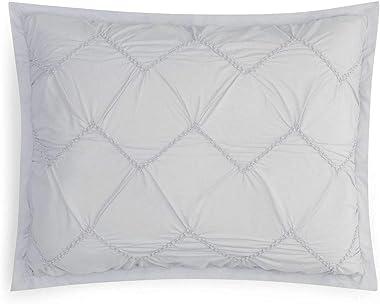 2 x Sky Smock Chevron Textured Cotton Standard Pillow Shams Grey