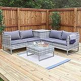 Wido Grey Rattan 4 Piece Outdoor Corner Sofa With Coffee Table & Storage Garden Patio Furniture