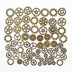 Teenitor 200 Gram Assorted Antique Steampunk Gears Charms Cogs Cyberpunk Vintage Pendant Clock Watch Wheel Gear for DIY Crafting Jewellery Making Finding Parts Accessory Bronze & Copper(Approx 140pcs) #5