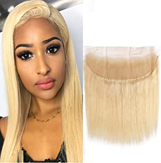613 Frontal Straight Closure 13X4 Pre Plucked Lace Frontal With Baby Hair Bleached Knots Free Part Brazilian Virgin Hair Remy Human Hair Blonde Closure 12 Inches