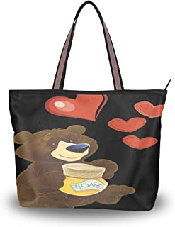 WIHVE Bear Heart Honey Women's Tote Bag Top Handle Satchel Handbags Shoulder Bags