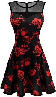 Sylvestidoso Women's A-Line Pleated Sleeveless Little Cocktail Party Dress with Printed Fabric