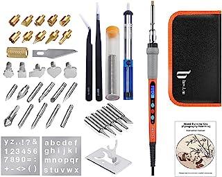 BESTZO Wood Burning Kit -LCD Wood Burning Tool Kit With Soldering Iron, Pyrography Tool Kit Wood Burning Pen With Embossin...