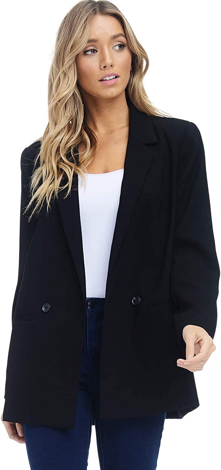 Alexander + David Women Loose Blazer Jacket Suit  Double Button Woven Welt Pocket