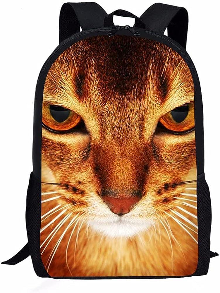 ZHANGWENJIE Mochila ortopédica para niños con estampado 3D de gato de 16 pulgadas, mochila ortopédica para niños, niñas, niños, mochila escolar, 44 * 28 * 13 cm