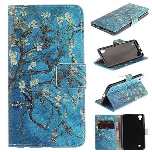 Skytar Handytasche für LG Xpower,LG X Power Hülle - PU Leder Flip Cover Case Brieftasche Stand Schutzhülle für LG X Power (K220) Tasche Hülle ,Aprikosenbaum