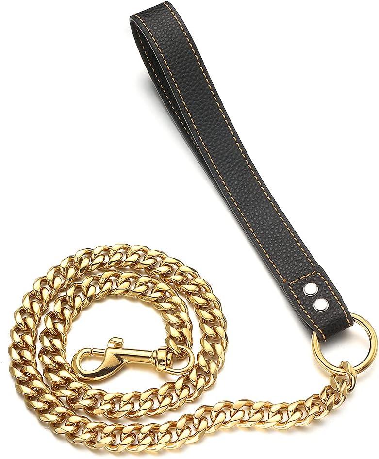 Super sale RUMYPET 18K Gold Dog Chain Leash Nippon regular agency Solid Proof 11MM 15MM 316L Chew